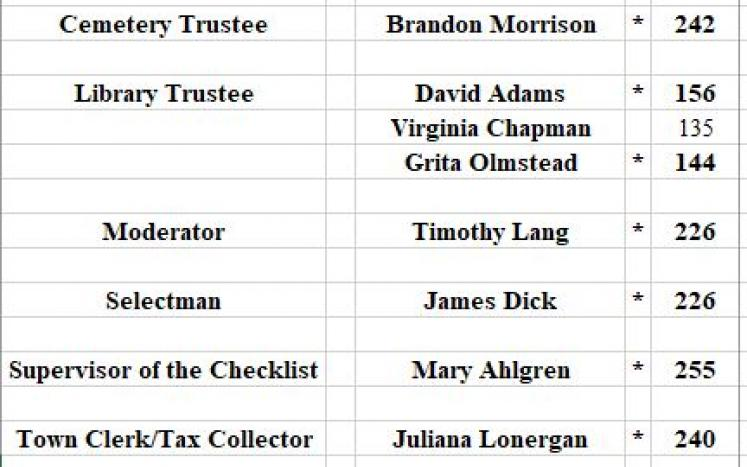 Town Election Results March 10 2020